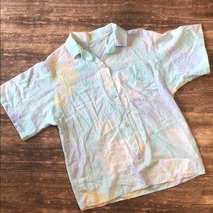 VINTAGE PASTEL 80s floral shirt